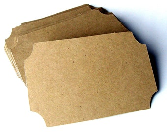 48 Ticket Tags or Name Plates in Recycled KRAFT . 3x2