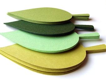 40 Green Leaf Escort Cards in Parakeet, Ivy, Lime, Chartreuse . Die Cut Leaves for Wishing Trees, Favor Tag or Gift Tags . Large (2x4)