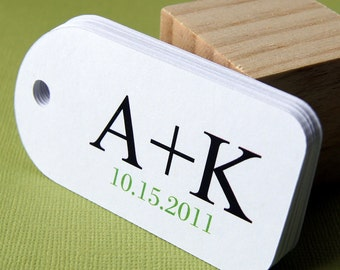 Math Initials Personalized Wedding Favor Tags (Qty. 12)