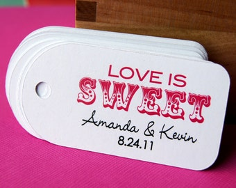 12 Personalized LOVE IS SWEET Tags, Circus Theme Favor Tags . 1.5 x 3 inches