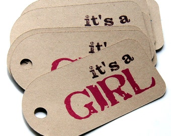 It's a Girl Baby Shower Tags on KRAFT (Qty. 12) . 1.5 x 3 inches