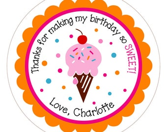 Ice Cream Cone . Personalized Birthday Stickers, Labels or Tags