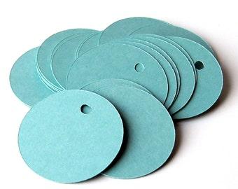 100 Small Circle Tags, Pool Blue Tags . 1.25 inch diameter