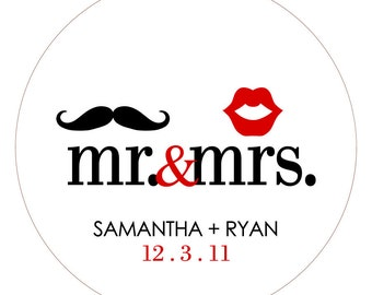 Mr. & Mrs. Mustache and Lips . Personalized Wedding Stickers, Labels or Tags