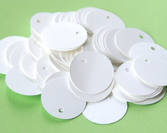 100 Round Cardstock Tags with Holes in WHITE . 1.25 inch