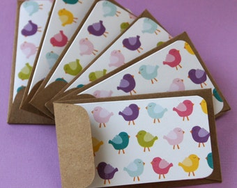 Betty Bird Note Cards, Mini Note Cards with KRAFT Envelopes . Set of 6