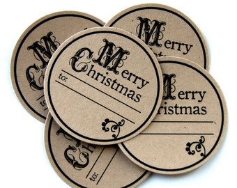 30 Merry Christmas Tag Spots for Gift Tags or Card Making . 1.5 inch round