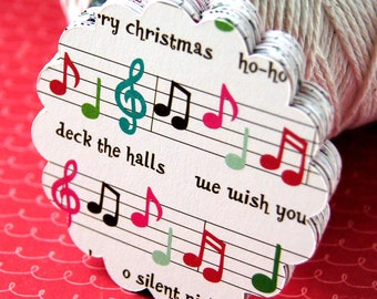 """2"""" or 2.5"""" Round Scallop Christmas Tags . Holly Jolly Fa La La Music Notes for Scrapbooking, Favor Tags, Cupcake Toppers"""