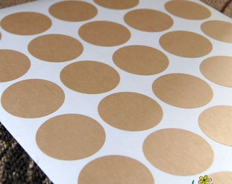 120 Round Kraft Stickers . DIY Labels . 1.5 (1-1/2) inches