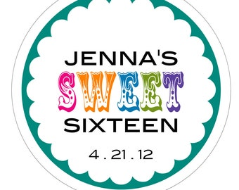 Sweet Sixteen (circus) . Personalized Birthday Stickers or Tags