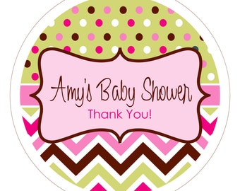 Chevron & Dots . Personalized Baby Shower Stickers, Labels or Tags
