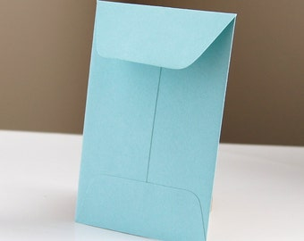 10 Open End Baby Envelopes in Pool (Blue) .  2.25 x 3.5