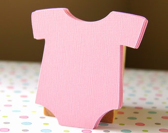 15 Medium Die Cut Baby Bodysuit or Romper Tag Embellishments in Light Pink . 2.25 inches