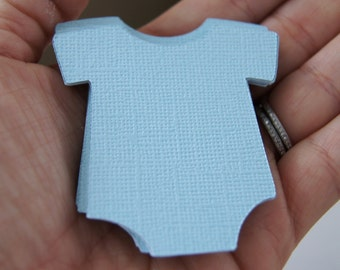 15 Medium Die Cut Baby Bodysuit or Romper Tag Embellishments in Jetstream (blue) . 2.25 inches