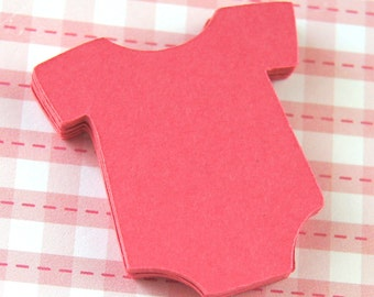 30 Small Baby Bodysuit or Romper Die Cuts in Strawberry (pink) . 1.5 inches