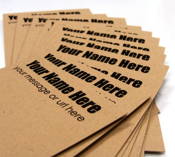 50 Personalized Product Hang Tags, Labels or Earring Cards on Kraft . 2 x 3.5 inches . Starter Set