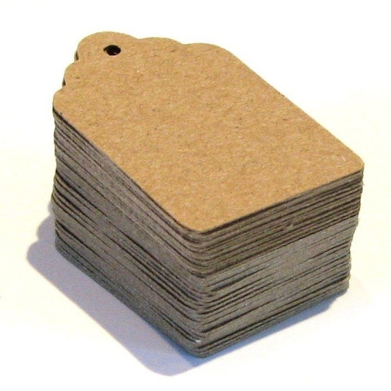 200 Blank Scallop End KRAFT Cardstock Price Tags with Chocolate Brown Baker's Twine . Small . 1 x 1.5 inches