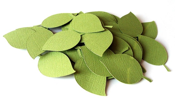 40 Small Die Cut Leaves in Parakeet Green at 1.5 inch