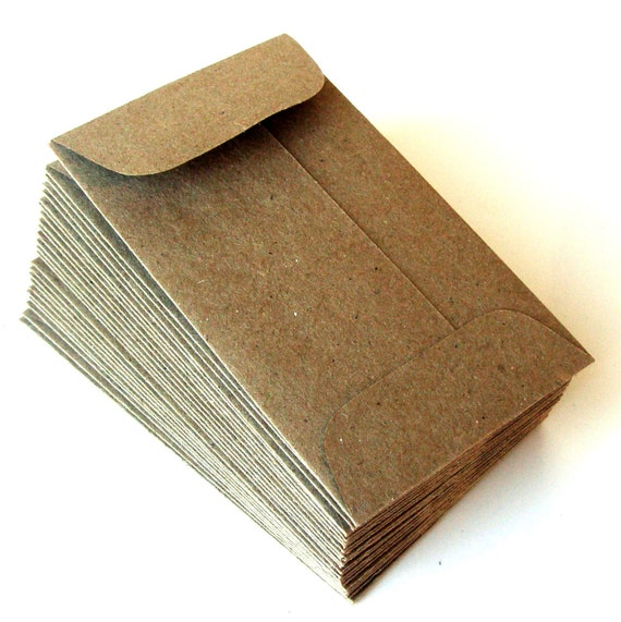 30 Mini Brown Bag Natural Kraft Paper Envelopes 2 25 X 3 75