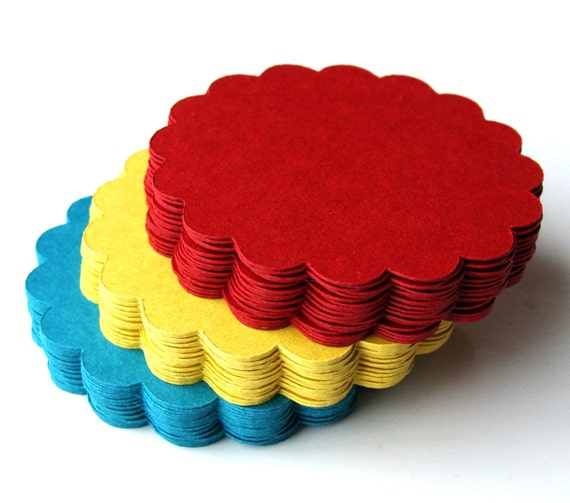 108 Round Scallop Tags . 2.5 inch . You Pick 3 Colors for Scrapbooking, Favor Tags, Garlands, Cupcake Toppers
