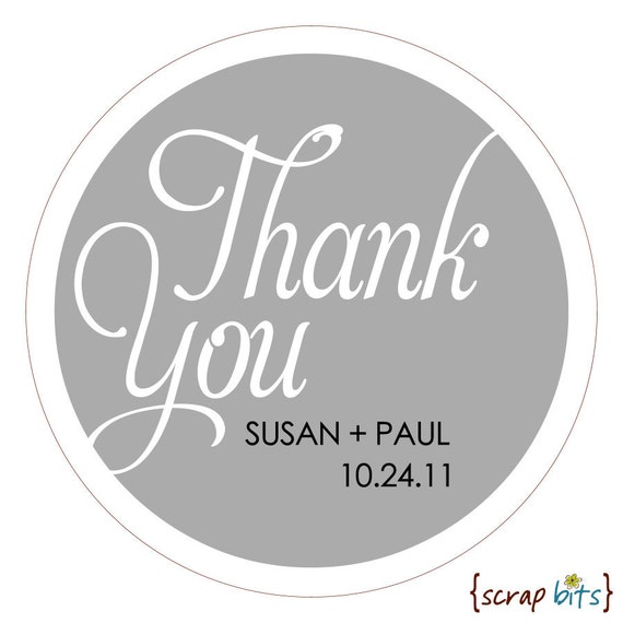 Personalized THANK YOU (script) Stickers or Tags