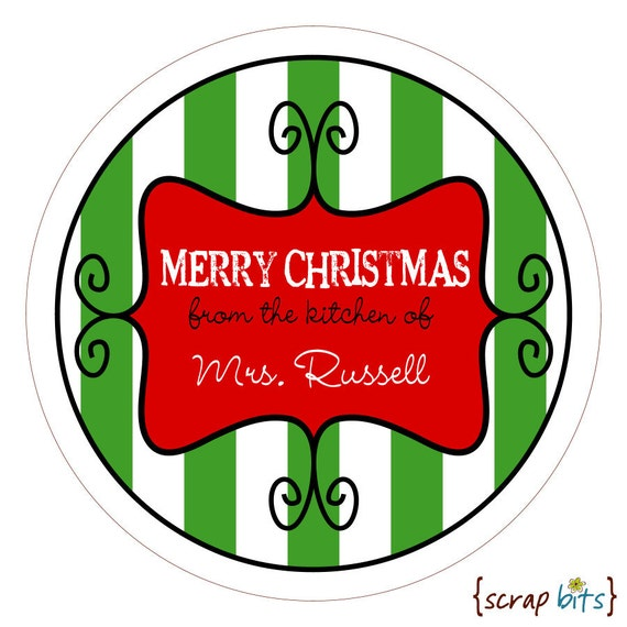 Curly Frame & Stripes Personalized Christmas Stickers, Labels or Tags