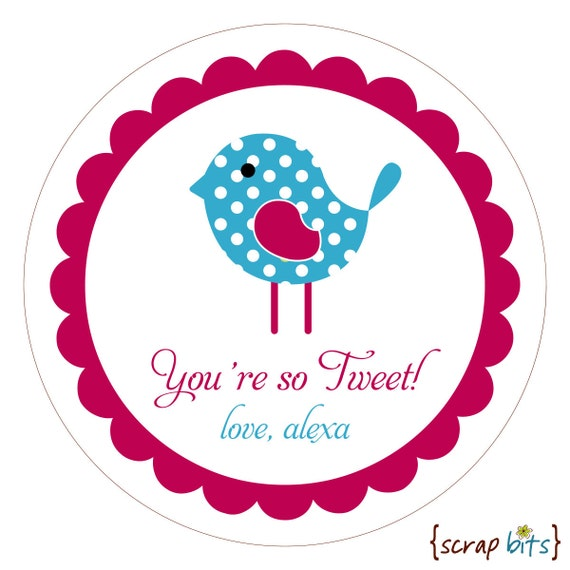 Polka Dot Bird Personalized Stickers, Labels or Envelope Seals