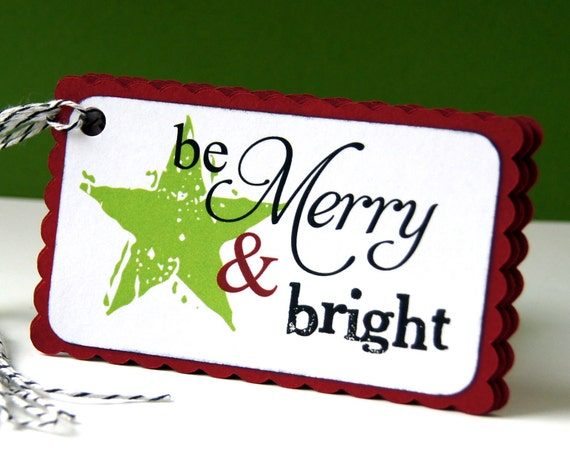 Be Merry & Bright (star) Christmas Tags or Package Labels (Qty. 5)