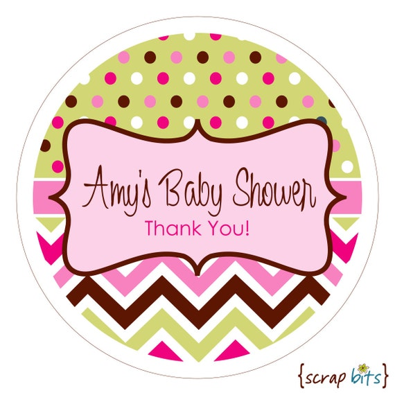 chevron dots personalized baby shower stickers labels or tags