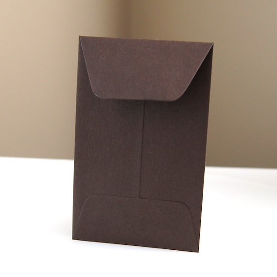 10 Open End Baby Envelopes in Chocolate (Brown) .  2.25 x 3.5