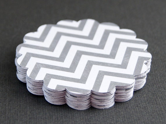 20 Round Scallop Tags . Grey & White Chevron Stripes (double sided) Cardstock for Scrapbooking, Favor Tags, Cupcake Toppers . 2.5 inch