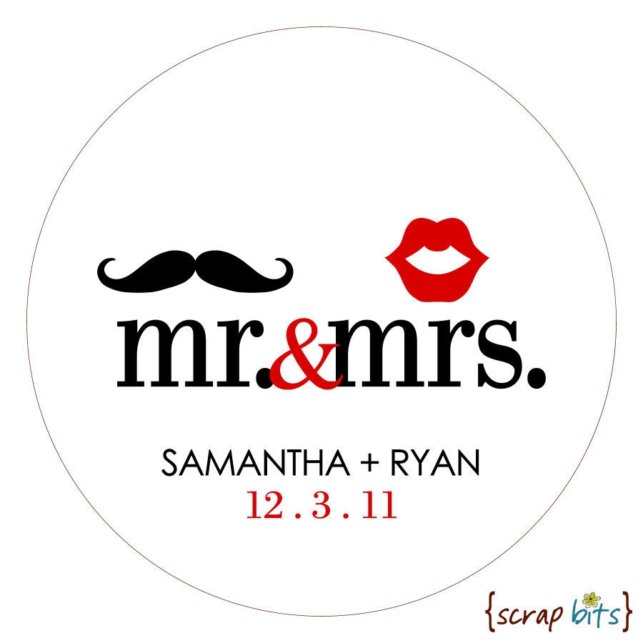 Mr Amp Mrs Mustache And Lips Personalized Wedding Stickers