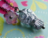 small glass owl and flower charm necklace (silver)