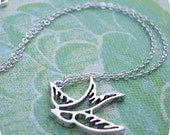 mini silver sparrow sihouette necklace