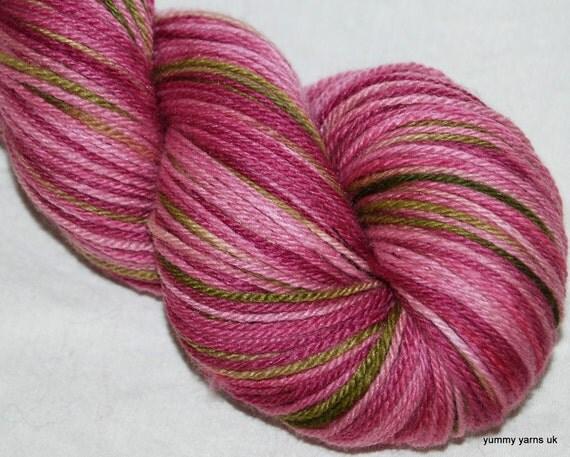 Hand Dyed 100g skein MERINO / SILK  fingering yarn