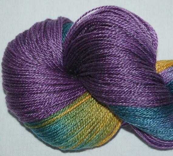 Hand painted Superwash  50 Merino 50 Tencel  Fingering yarn