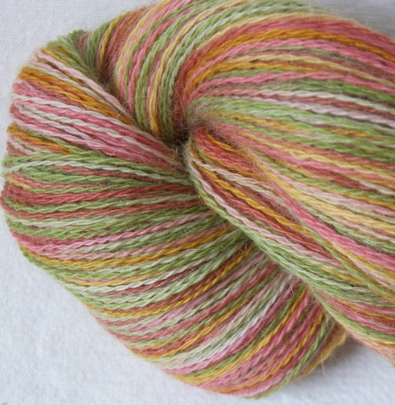 Kettle Dyed 100g Skein 100 percent Alpaca  2ply Laceweight  4\/16 NM- Bouquet   UK Seller