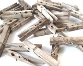Clothespins -100 aged RUSTIC clips - organize, wedding favor, banner clips, wedding place card