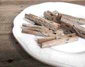 Clothespins - vintage SILVER rick rack clips - set of 8 - wedding favor, party favor, place card holder
