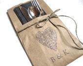 Wedding Silverware Pockets - PERSONALIZED - set of 20 -  wedding dinner , wedding decor, wedding rehearsal dinner