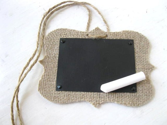 Decorative BURLAP Chalk Cloth Tags - Wedding, place card, treat jars, bin tags, gift tags - 4 per set - Original  Designs by Blue Pearls