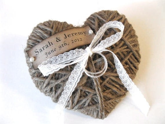 Ring Bearer Pillow - reuse as Christmas ornament  - personalized with lace - wedding ceremony, wedding decor
