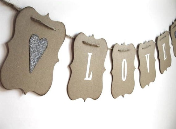 Love Banner - rustic elegance - wedding, photo shoot, baby shower, home decor - white letters & aged silver hearts