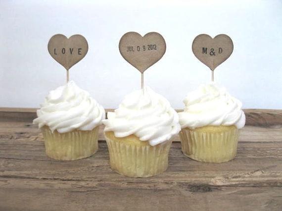 WEDDING Cupcake Toppers - 12 kraft PERSONALIZED HEART cupcake picks - wedding decor, wedding cupcake, personalized, baby shower, birthday
