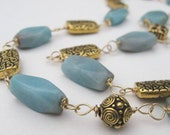 Gemstone Necklace with Amazonite and Gold Plated Pewter - -Aegean Treasure