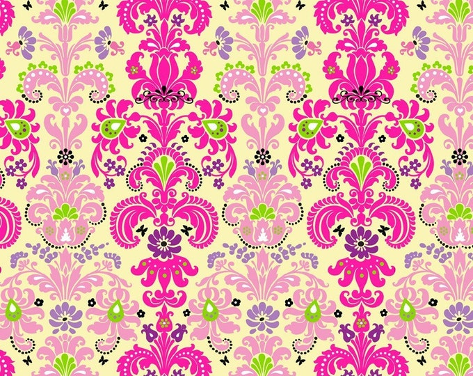 Enchanted Damask Fabric by Ellen Medlock - 1 Yard of Hot Pink Fuchsia Cotton Quilting Sewing Fabric (#901B)