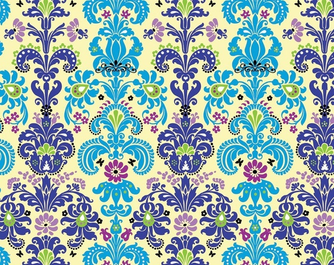 Enchanted Damask Fabric by Ellen Medlock -  Turquoise Blue Lime Green Cream Yellow Floral Flourish Quilting Sewing Cotton Fabric  (#901C)