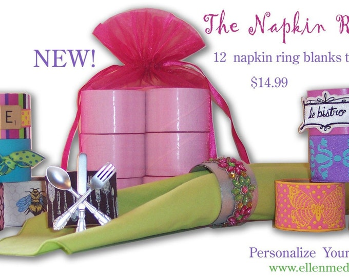 The Napkin Ring DIY Paper Crafting Set by Ellen Medlock Studio - Set of 12 One and A Half Inch Wide Craft Blanks (#404)