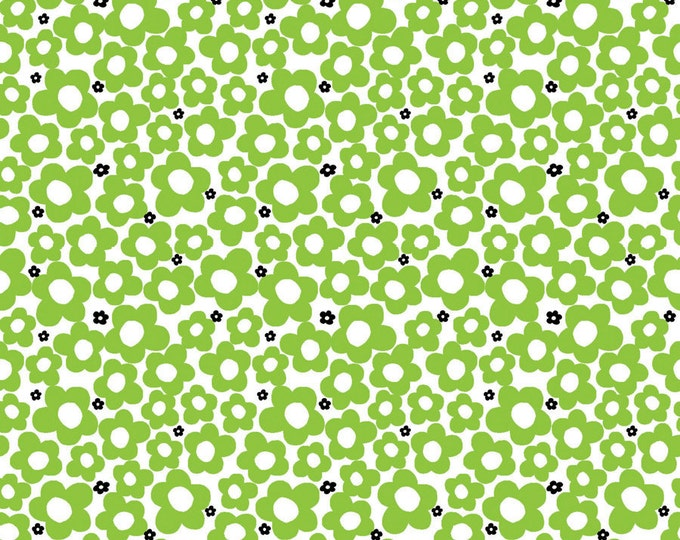 Hippie Flower Lime Fabric by Ellen Medlock - 1 yard Green Floral Quilting Cotton Fabric (#905A)