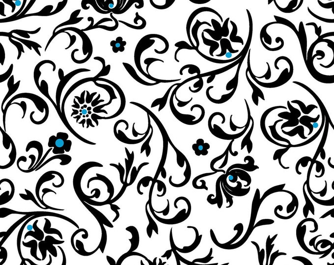 Floral Flourish Turquoise Fabric by Ellen Medlock - Floral Scroll Black, White, Blue Sewing Quilting Cotton Fabric (#908C)